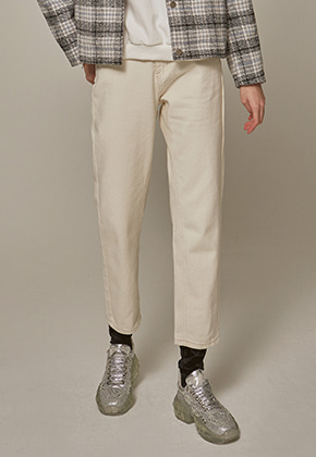 Yan13얀써틴 SEMI WIDE COTTON PANTS_CREAM