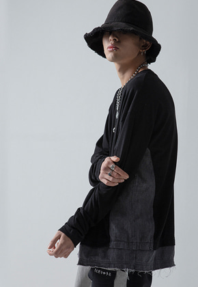 Maedaryuto마에다류토 DENIM MIXED SLEEVE - BLACK