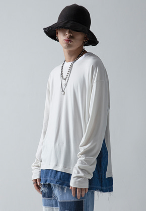 Maedaryuto마에다류토 DENIM MIXED SLEEVE - WHITE