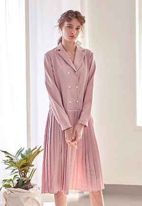 Yan13얀써틴 PLEATS DOUBLE LONG OPS_PINK
