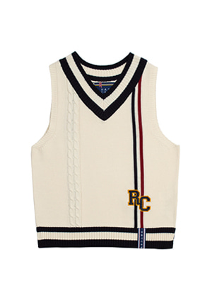 Romantic Crown로맨틱크라운 RC Double Line Vest_Oatmeal