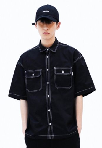 FROMMARK프롬마크 FMK OVERSIZED STITCH DETAIL SHIRT BLACK