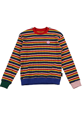 AJO BY AJO FINK LABEL Rainbow Stripe Sweat Shirt [Red]
