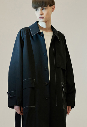 Haleine알렌느 BLACK stitch detail oversize maccoat(IJ002)