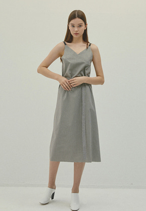 Haleine알렌느 GREYBROWN leather string gingham check V-neck dress(IT058)