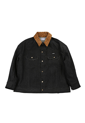 AJO BY AJO FINK LABEL Leopard Denim Trucker [Black]