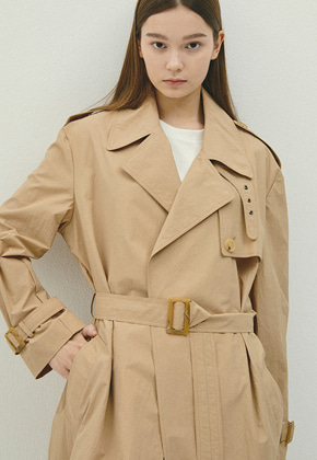 Haleine알렌느 BEIGE nylon oversize trench coat(IJ031)