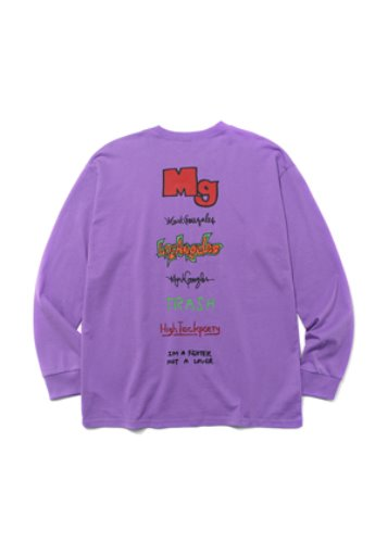 Markgonzales마크곤잘레스 M/G TYPOGRAPHY LONG SLEEVE TEE PURPLE