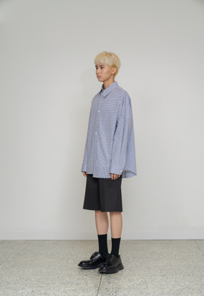 STU에스티유 (LLUD 단독상품) Overfit check shirt blue