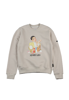 AJO BY AJO FINK LABEL Cosmetic Man Sweat Shirt [Beige]