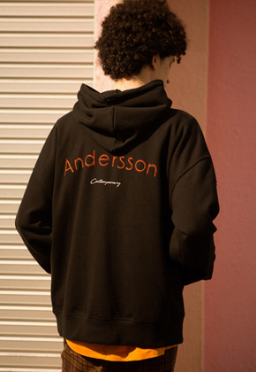 Anderssonbell앤더슨벨 UNISEX RUNNING EMBROIDERY ANDERSSON HOODIE atb295u BLACK