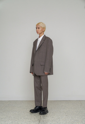 STU에스티유 2 Button overfit check blazer grey