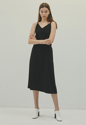 Haleine알렌느 BLACK leather string V-neck dress(IT057)