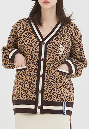 Romantic Crown로맨틱크라운 Leopard Knit Cardigan_Brown