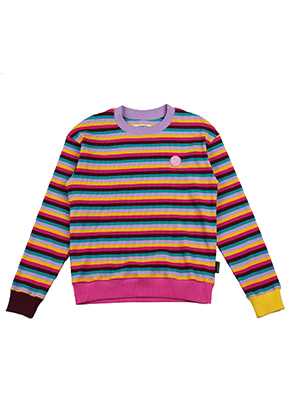 AJO BY AJO FINK LABEL Rainbow Stripe Sweat Shirt [Pink]