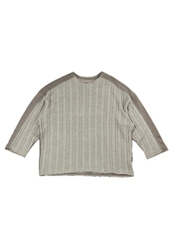 AJO BY AJO아조바이아조 Oversized Knit and Sweat Shirt [Beige]