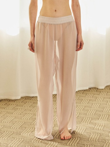 TMO BY 13Month 티엠오 바이 써틴먼스 SEE-THROUGH BANDING PANTS (PINK BEIGE)