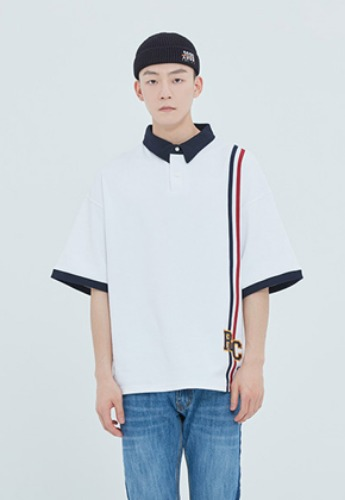 Romantic Crown로맨틱크라운 RC Double Line Polo Shirt_White
