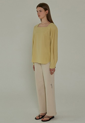 More or Less모어올레스 SQUARE NECK BLOUSE - LEMON
