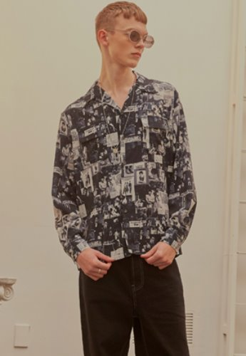 INNER CITY AUDIO이너시티오디오 MOVIE PRINT OPEN COLLAR SHIRTS