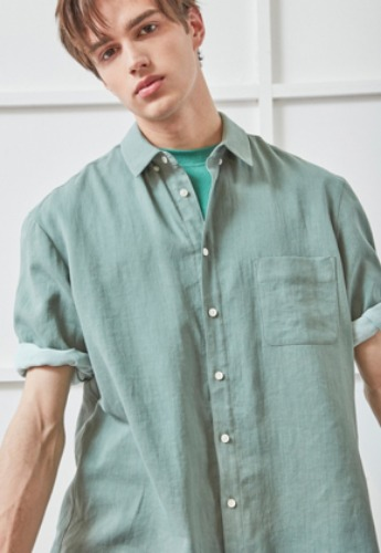 NOHANT노앙 WIDE CUFFS SHORT SLEEVE LINEN SHIRT GREEN