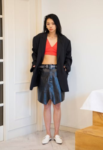 XYZ LEATHER SKIRTS - BLACK