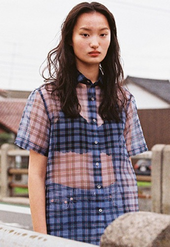 Vuiel뷔엘 ORGANZA HALF SLEEVE CHECK SHIRT