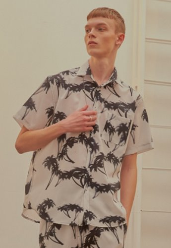 INNER CITY AUDIO이너시티오디오 PALMTREE HALF SHIRT WHITE / BLACK