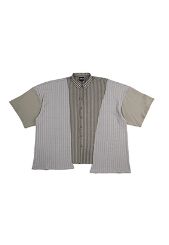 AJO BY AJO아조바이아조 Oversized Tri Mixed Shirt [Grey]
