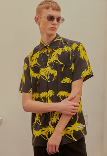 INNER CITY AUDIO이너시티오디오 PALMTREE HALF SHIRT BLACK / YELLOW