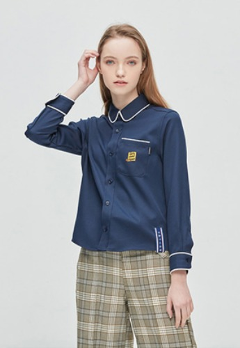 Romantic Crown로맨틱크라운 GNAC Piping Shirt_Navy