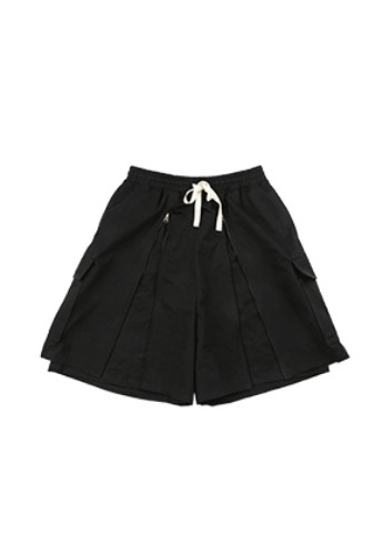 AJO BY AJO아조바이아조 Layered Baggy Zip Up Shorts [Black]