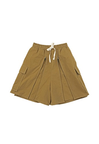 AJO BY AJO아조바이아조 Layered Baggy Zip Up Shorts [Mustard]