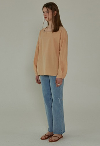 More or Less모어올레스 SQUARE NECK BLOUSE - PEACH
