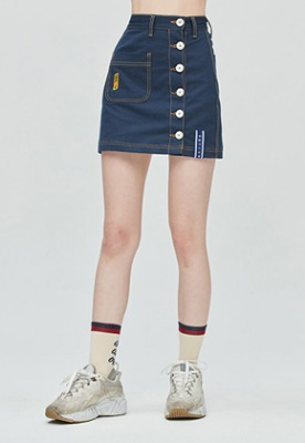 Romantic Crown로맨틱크라운 GNAC Side Button Skirt_Navy