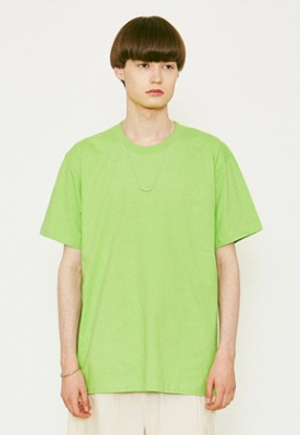 Voiebit브아빗 V367 BASIC OVERFIT HALF-TEE  YELLOWGREEN