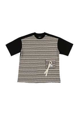 AJO BY AJO아조바이아조 Oversized Twofold Knitted T-Shirt [Black]