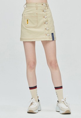 Romantic Crown로맨틱크라운 GNAC Side Button Skirt_Beige