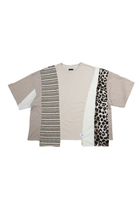 AJO BY AJO아조바이아조 Oversized Mixed T-Shirt [Beige]