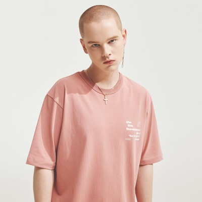 A.GLOWW에이글로우 SILK COTTON PRINTING LABEL T-SHIRTS INDIE PINK