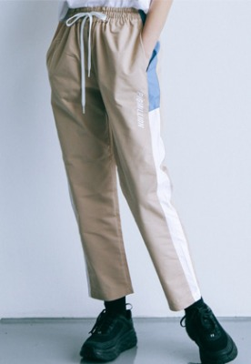 Pig million피그밀리언 [PIGMILLION x DOPAMIN.C] Combination Banding pants (BEIGE)