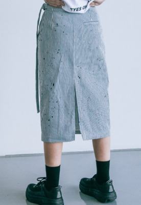 Pig million피그밀리언 [PIGMILLION x DOPAMIN.C] Splash Denim Wrap Skirt (STRIPE)