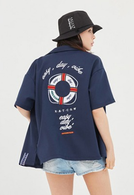 Romantic Crown로맨틱크라운 Life Belt Souvenir Shirts_Navy