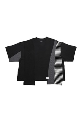 AJO BY AJO아조바이아조 Oversized Mixed T-Shirt [Black]