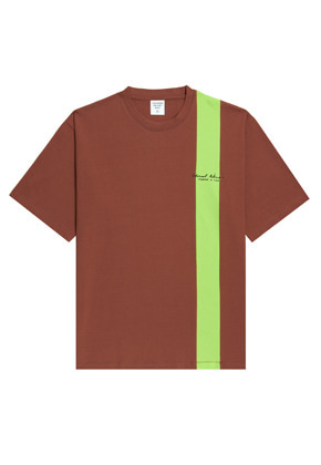 Evan Laforet에반라포레 VERTICAL LINED TEE - BROWN