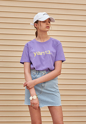 Yan13얀써틴 THIRTEEN HALF T-SHIRTS_PURPLE