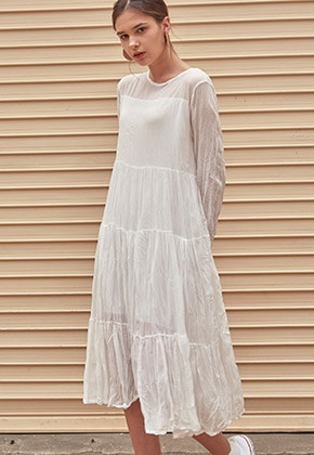 Yan13얀써틴 PLEATS LAYERED LONG OPS_IVORY