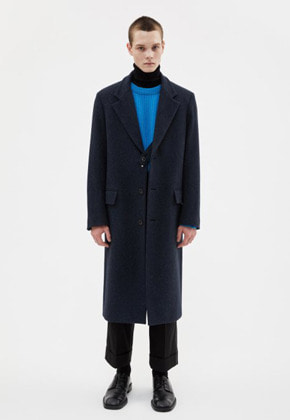 Anderssonbell앤더슨벨 JAMES SINGLE STRAP LONG COAT awa277m(NAVY HERRINGBONE)