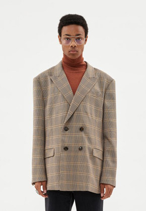 Anderssonbell앤더슨벨 UNISEX VIENNA CHECK DOUBLE BREASTED JACKET awa272u(BROWN CHECK)