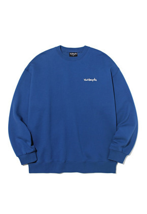 Markgonzales마크곤잘레스 M/G SMALL SIGN LOGO CREWNECK INDIGO BLUE